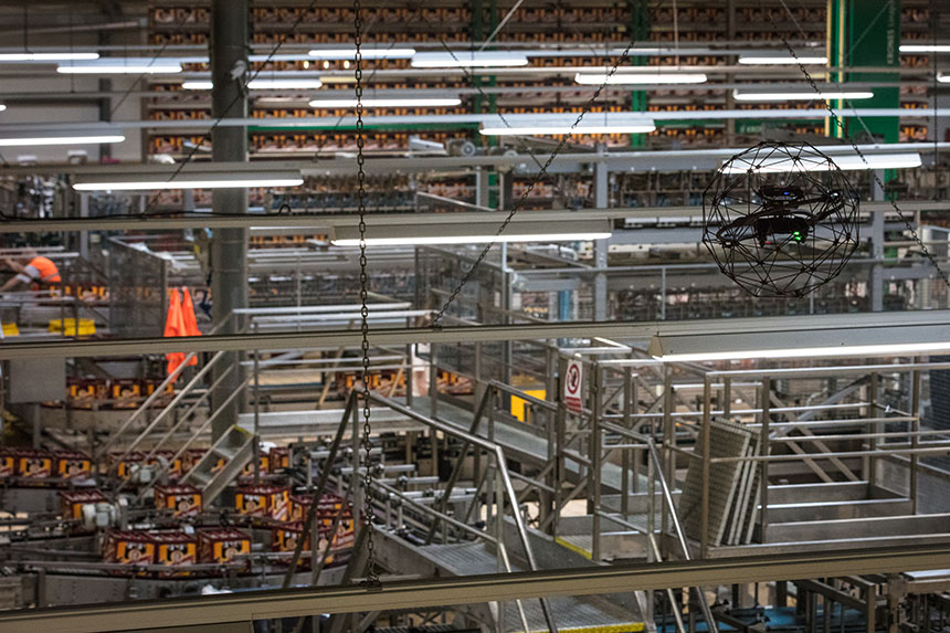 60,000 Bottles of Beer per Hour: This Collision-Tolerant Drone Keeps Production Going During Inspection at Pilsner Urquell
